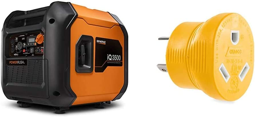 Generac 7127 iQ3500-3500 Watt Portable Inverter Generator Quieter Than Honda, Orange/Black & Camco Heavy Duty PowerGrip 30 Amp 3 Prong Generator Adapter for RVs and Autos | 125 Volts & 3750 Watts