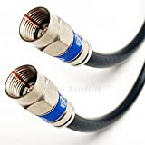 50ft WEATHER SEAL QUAD SHIELD OUTDOOR 3GHZ RG-6 Coaxial Cable 75 Ohm (Satellite TV or Broadband Internet) ANTI CORROSION BRASS CONNECTOR RG6 Fittings Assembled in USA by PHAT SATELLITE INTL