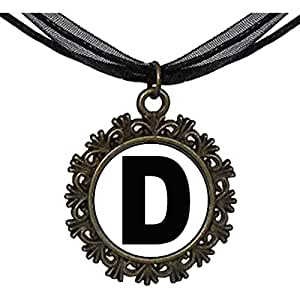 Chicforest Bronze Retro Style Black Letter D Round With Flower Lace Pendant
