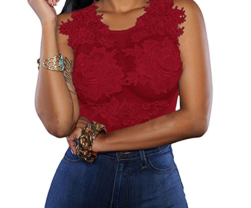 FQHOME Womens Red Mesh Lace Applique Bodysuit Size M (Male Power Super Sock compare prices)