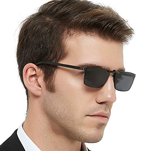 OCCI CHIARI Mens Rectangle Full-Rim Metal Black Non-Prescription Clear Optical Glasses 54mm (Clip on ()