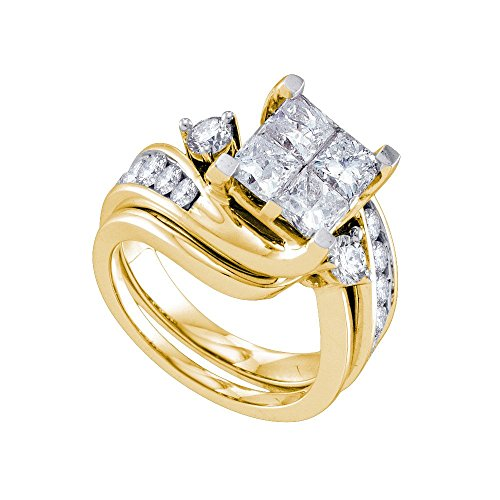 3 Ct Tw Invisible Set (Roy Rose Jewelry 3-Carat tw 4 Princess Diamond Invisible-set Center Bridal Ring Set 14K Yellow)