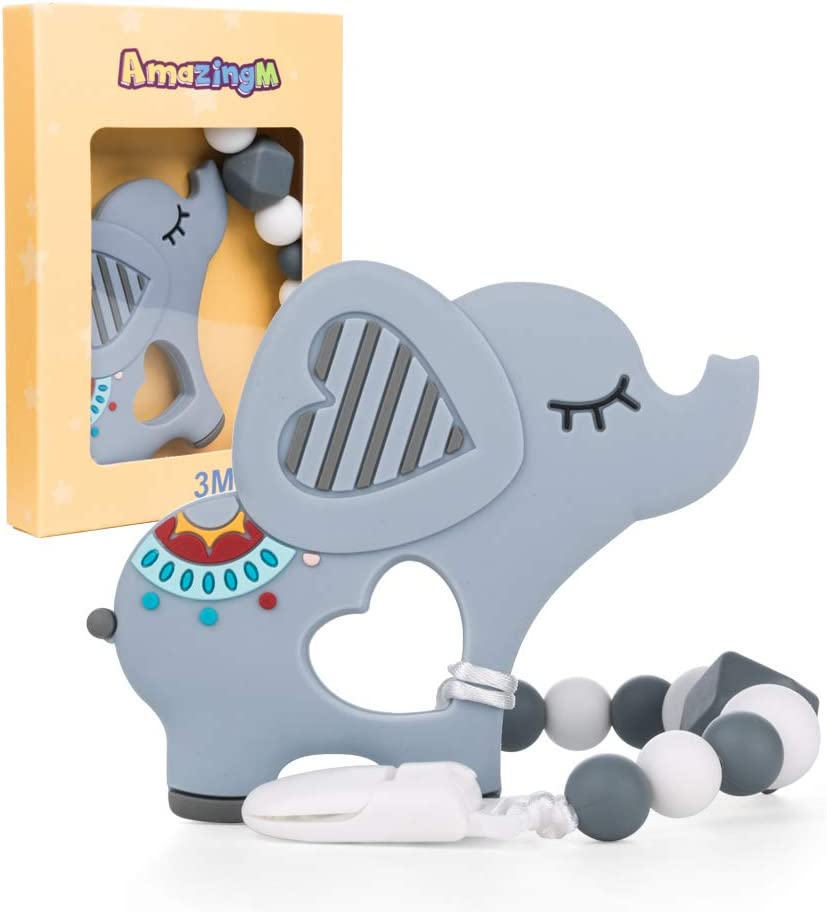 Baby Teething Toys,Food Grade Silicone Elephant Teether Toy with Pacifier Clip Holder Set for Newborn Babies,BPA Free,Freezer Safe (Grey)