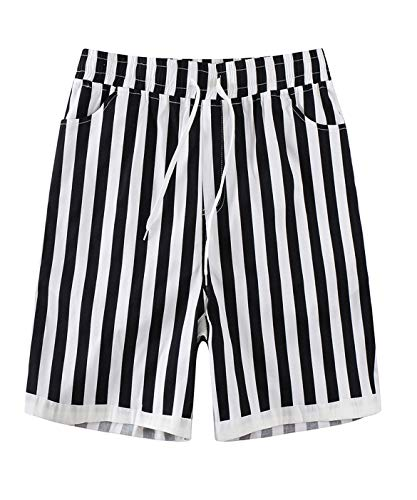APRAW Mens Casual Striped Shorts Beach Shorts with Elastic Waist Drawstring Lightweight Slim Fit Summer Short Pants, Multi, 38 from APRAW