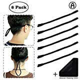 6-Pack Elastic Sunglass Straps with Microfiber Glasses Cleaning Cloth - Black