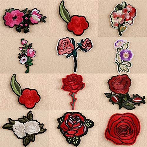 2 Rose Flower Sew on Patch Cute Applique Badge Embroidered Nature Lace Dress Lot
