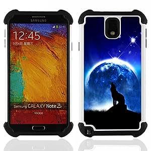 /Skull Market/ - Wolf On the Moon For Samsung Galaxy Note3 N9000 N9008V N9009 - 3in1 h????brido prueba de choques de impacto resistente goma Combo pesada cubierta de la caja protec -