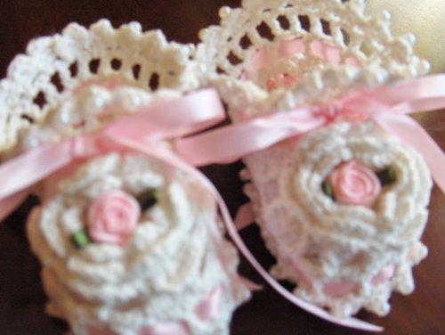 Hand Crocheted Infant Irish Rose Baby Booties Christening - Ivory/Pink