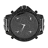 Mens Black Watch Round Face 4 Time Zone Look Fully Iced Out Black Lab Diamonds 60mm XL Face