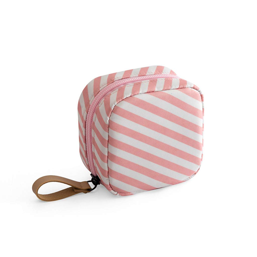 Makeup Bag Lazy Cosmetic Bag Travel Toiletry Bag Cosmetic Make Up Organizer Waterproof Travel Accessories for Women and Girls,Mini Pink