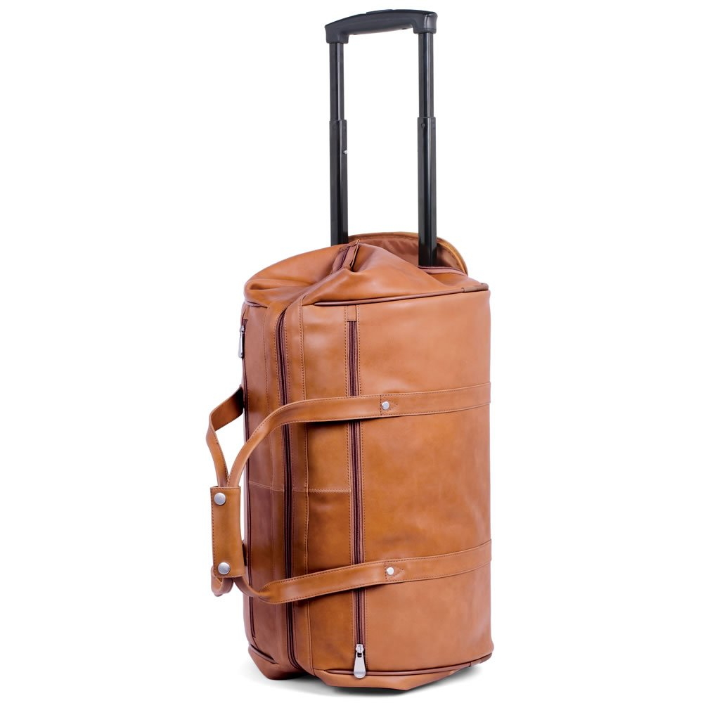 The Rolling Widemouth Leather Weekend Travel Tote Bag with Wheels (TAN)