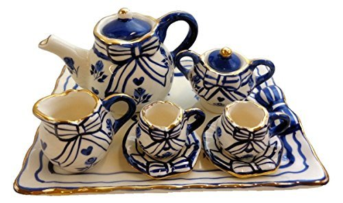 Children's 10 Piece Doll Size Tea Set for 2, Bows all Blue