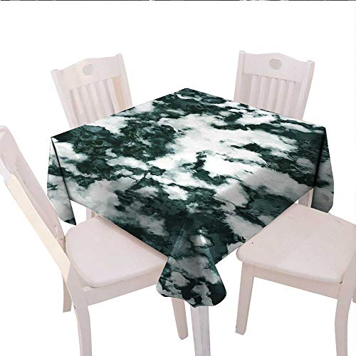 """longbuyer Marble Picnic Tablecloth Abstract Stone Facet Artistic Blurry Layered Shades Textured Image Oval Tablecloth 36""""x36""""Forest Green Pearl White"""