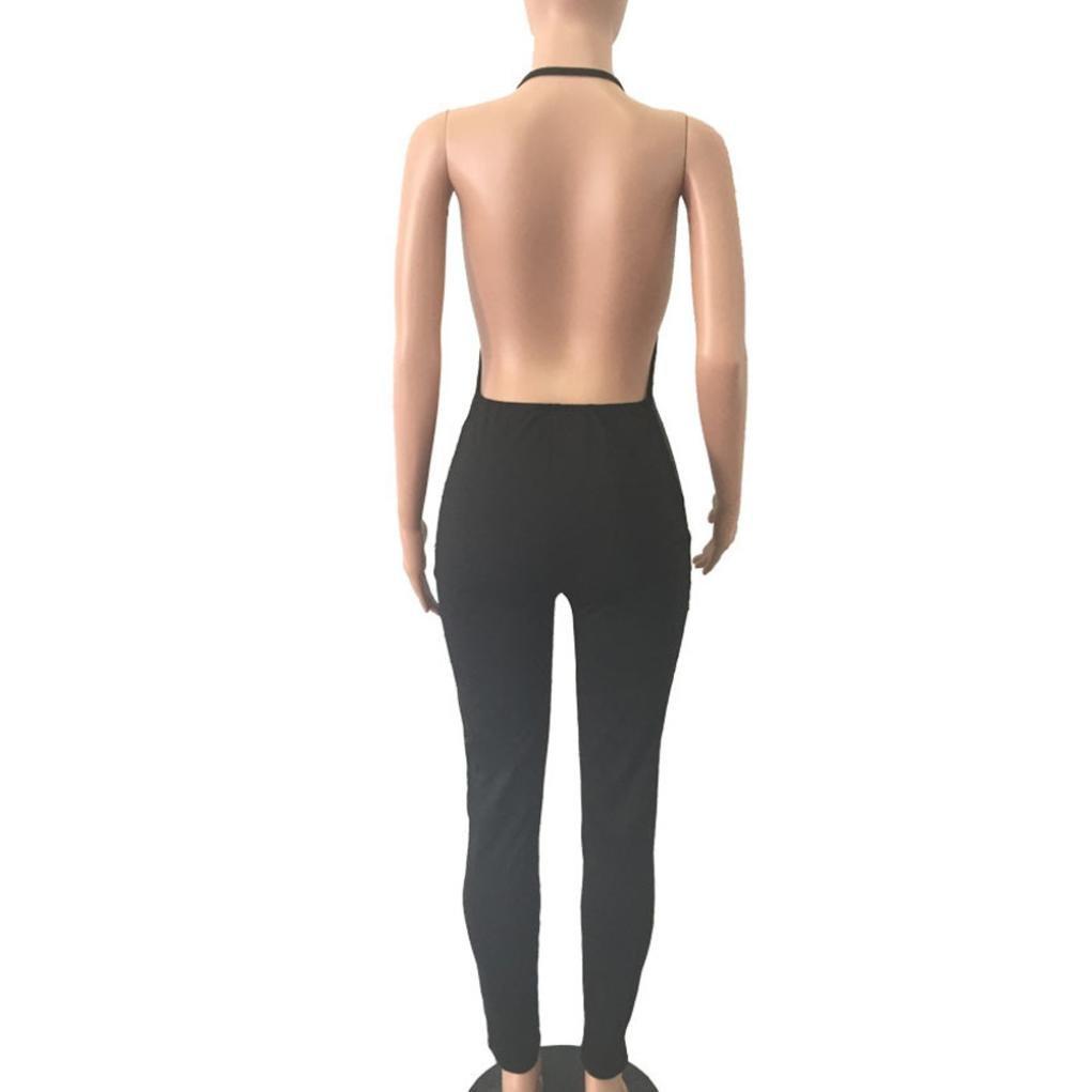 b31928efc09a Amazon.com  Sunward Women s Sexy Sequins Deep V Neck Sleeveless Bodycon One  Piece Jumpsuit Rompers Clubwear  Clothing