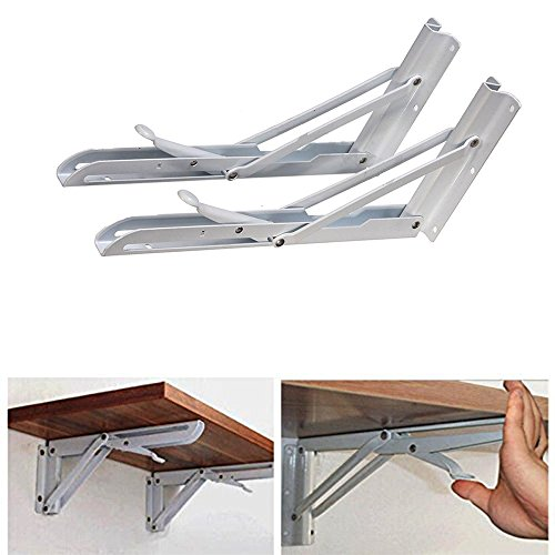 WElinks 2Pcs Heavy Duty Stainless Steel White Metal Triangle Wall Mounted Folding Wall Support Shelf Bracket, Max Load - Collapsible Hinges