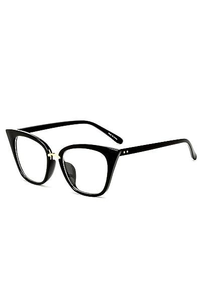 d993a197f9709 Bmeigo Montura para Gafas Vintage Estilo de ojo de gato Clear Lens para  mujer Gafas Mujer - Marco negro clásico UV400  Amazon.es  Ropa y accesorios