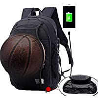 Basketball Backpack, Soccer & Football Backpack, Computer Backpack Laptop Backpack, Business Backpack, Sports Bag with Basketball Net with USB Port, Headphone Pouch and Ball Holder with Basket (Black)