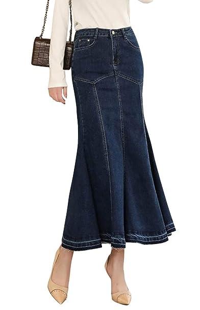1b905686e8a9a TOPJIN Plus Size Womens Bodycon Mermaid Long Casual Denim Skirt High Waist Jeans  Dress Dark Blue
