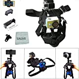 Tomcrazy Pet Dog Harness Adjustable Chest Strap Belt Back Mount Remote Control Wrist Strap for GoPro Hero 5 4 3 2 Xiaomi Yi SJ4000 5000 6000 7000 Sport Action Camera with J-hook Flat Buckle Mount