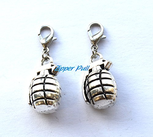 Grenade Zipper Pull, Gift for Veteran, Gift for Serviceman, Military Keychain, Unique Gift,Charm Bracelet, Purse Charms Backpack charm, Zipper charm, Gift