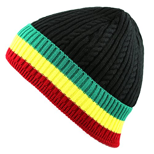 THE HAT DEPOT 200h Unisex Light Weight Chunky Cable Stripe Knit Beanie Hat (Rasta1) (Beanie Knit Stripe Hat)