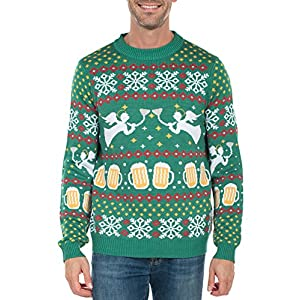 Tipsy Elves Men's Beer Bong Angel Christmas Sweater - Funny Ugly Christmas Sweater