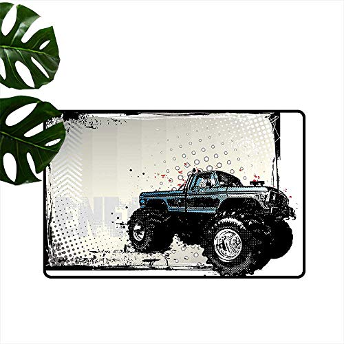 Anzhutwelve Truck,Machine Washable Small Rug Halftone Pattern Background with Color Splashed Frame and Monster Truck Motif Home Decoration Door Mat W 31