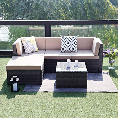 Cool Cover Rattan (Wisteria Lane Outdoor Sectional Patio Furniture,5 Piece Wicker Rattan Sofa Couch with Ottoma Conversation Set Gray Wicker,Beige Cushions)