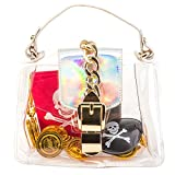 Pirate Costume Accessories for Girls - Gold Coins, Earring, Eyepatch, and Red Bandana in a Clear PVC Gold Treasure Chest Style Toy Handbag
