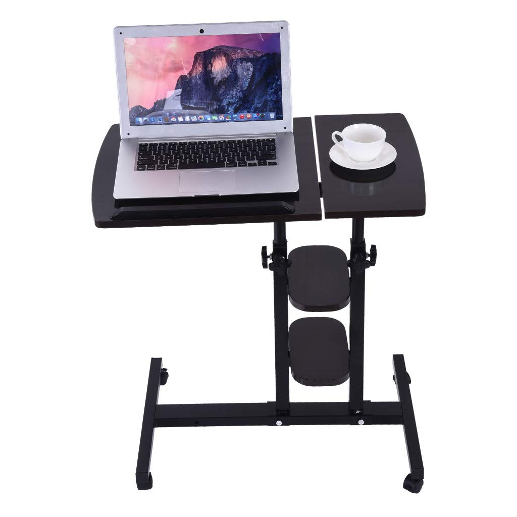 QIANSKY Turnlift Sit-Stand Mobile Laptop Desk - Modern Simple Adjustable Lazy Computer Desk - Small Side Coffee Table for Bedroom/Living Room/Apartment - Easy to Clean (Black) by QIANSKY