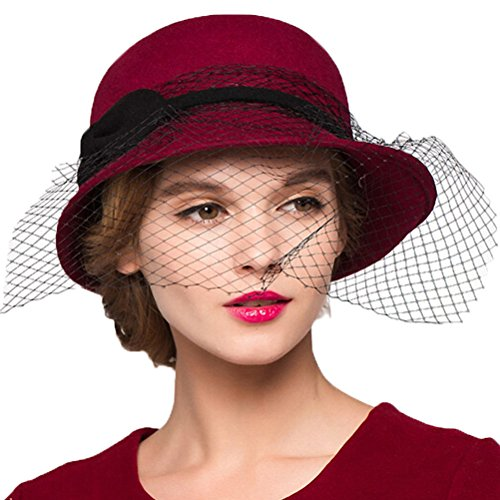 "Maitoseâ""¢ Women's Wool Felt Flowers Church Bowler Veil Hats Wine Red"