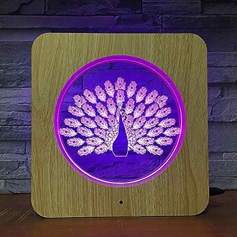 Pavo Real Animal plástico luz Nocturna lámpara Personalizada lámpara de Mesa niños Color Regalo decoración del hogar