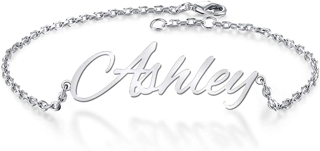 Silver name bracelet with a heart-personalized name bracelet-custom any name-handmade jewelry for everyone