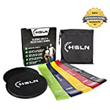 Ultimate Gliding Discs & Resistance Bands Set | 2 x Fitness Core Sliders & 5 x Workout Bands For Full-Body Training At Home & Office | Build Muscle Strength, Stability & Stamina