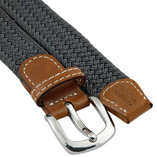 "Samtree Braided Belt for Women,PU Leather Stretch 1"" Width Woven Web Strap(Dark Grey)"