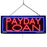LARGE LED OPEN SIGN - ''PAYDAY LOAN'' 13''X32'' size, ON / OFF / FLASHING MODE (LED-Factory #2650fba)