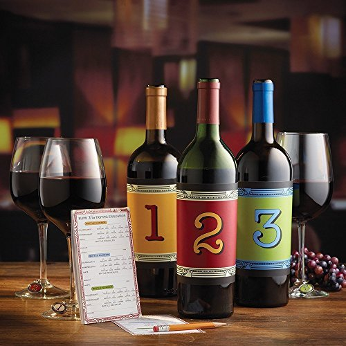 Blind Wine Tasting Set Includes: Thirty Individually Numbered Bottled Wraps Printed from 1 to 6, Fifty Scoring Pads - All you need is wine! by Epic