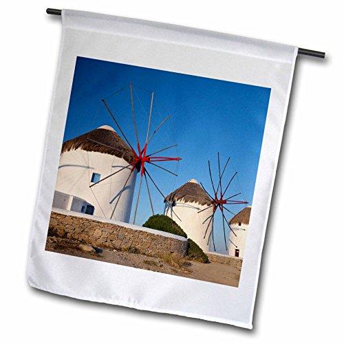 3dRose Danita Delimont - Windmills - Greece, Mykonos. Windmills along the water - 18 x 27 inch Garden Flag (fl_277436_2) (Water Mykonos)