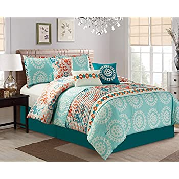 Modern 7 Piece Embroidered Bedding Aqua Blue / Turquoise / Orange QUEEN Pin  Tuck Comforter Set With Accent Pillows