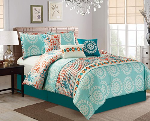 Modern 7 Piece Embroidered Bedding Aqua Blue / Turquoise / Orange QUEEN Pin Tuck Comforter Set with accent pillows (Bedding Turquoise Red)