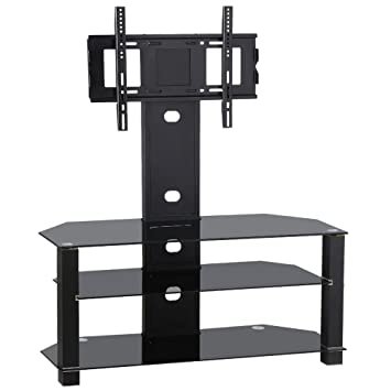 Amazon Topeakmart Black Glass TV Stand Cantilever Bracket 3