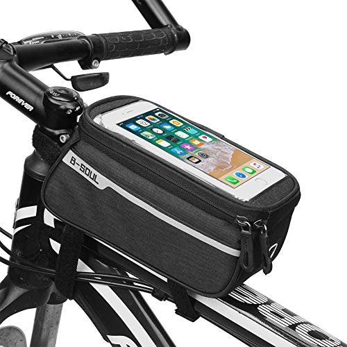ITODA Waterproof Bike Bags Mountain Bicycle Front Tube Beam Package Strap-On Cycling Bags Professional Bicycle Accessories Touch Screen Mobile Phone Bags Packages