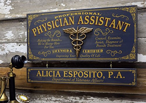 (A Simpler Time Physician Assistant Wood Plank Sign with Personalized Nameboard)