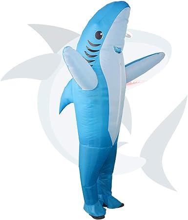 Men Inflatable Shark Costume Carnival Birthday Party Fancy Dress Halloween Suit