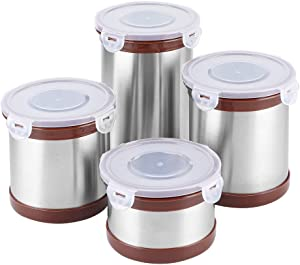 Kitchen Canister Set, Set of 4 Stainless Steel Airtight Canisters with Lid and Locking Clamp Food Storage Container Decorative Coffee, Sugar, Tea, Storage Containers for Kitchen Counter