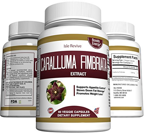 Pure Caralluma Fimbriata Extract Capsules - All Natural Weight Loss Supplement and Appetite Suppressant - Maximum Potency 1000mg Per Day, 60 Veggie Caps, Made in USA (Fat Burning Machine The 12 Week Diet)
