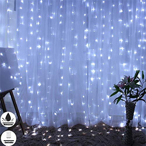 Fog Rain 300 LED Fairy String Curtain Lights, 9.8ftx9.8ft, Waterproof Decorative Indoor/Outdoor Lights 8 Mode for Christmas Wedding Party Dancing Hall Home Garden Decorations -
