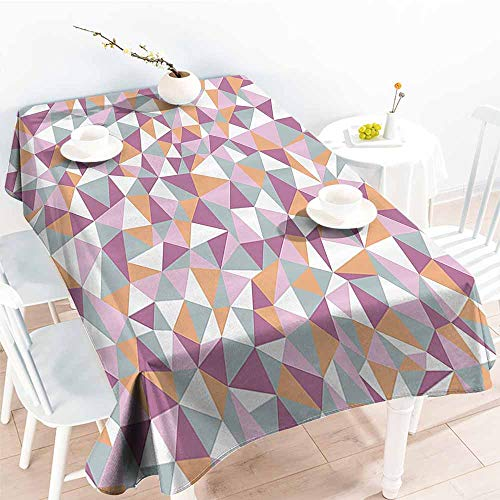 Homrkey Wrinkle Resistant Tablecloth Geometric Decor Collection Mosaic Endless Pattern Tile Simplicity Continuity Texture Effect Print Light Salmon Lilac Blue and Durable W52 xL70