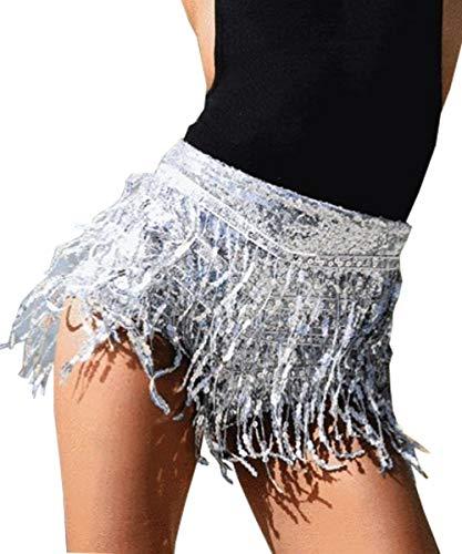 Yollmart Women's Sequins Tassel Skirts Shorts Booty Dance Festival Bottoms-Silver-M -