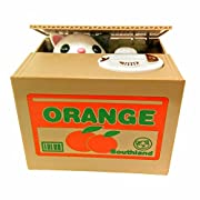 Amazon Lightning Deal 94% claimed: Mischief Saving Box Stealing Coin Piggy Bank, White Kitty Orange Box